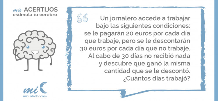 Acertijo «El salario del jornalero»