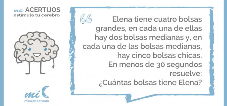 Acertijo «Las bolsas de Elena»